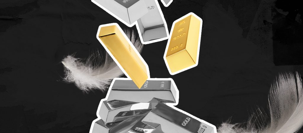 Barras de ouro com mesmo peso de pena